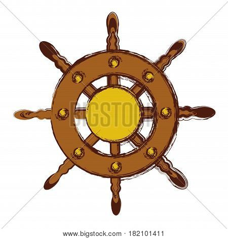 blurred color in boat helm icon vector illustration