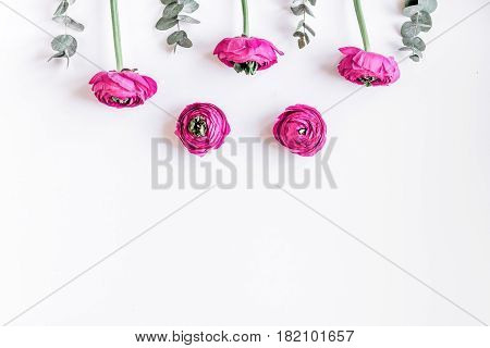 spring with bright flowers mock up on woman white desk background top view