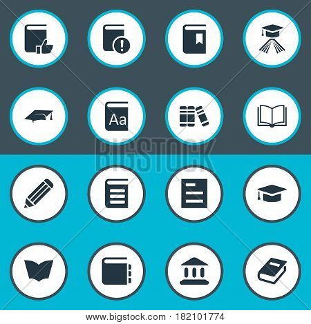 Vector Illustration Set Of Simple Education Icons. Elements Book Cover, Tasklist, Library And Other Synonyms Page, List And Library.