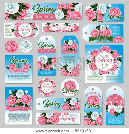 Spring rose gift tag and greeting card set. White and pink rose flower with green leaf and floral bud, decorated by ribbon banner for springtime holidays festive design