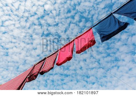 picture with low angle view of a clothesline