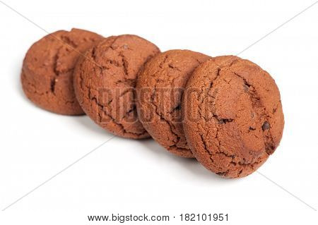 Group of brown cookies isolated on white