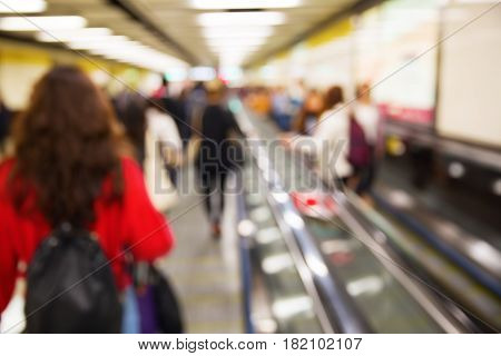 People In An Underground Station Out Of Focus