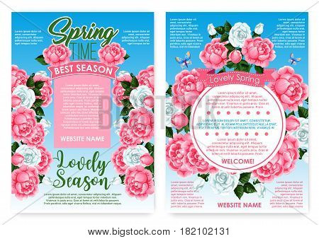 Spring time poster of flowers, bouquets and floral frames. Vector design for seasonal lovely springtime holiday greetings with blooming garden roses and spring butterflies on flowers bunches