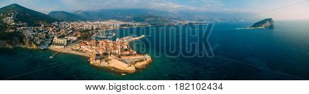 Aerial View of Old town Budva in Montenegro.