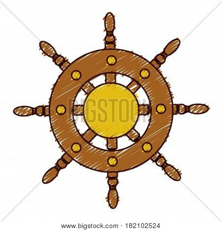 hand colored drawing of boat helm icon vector illustration