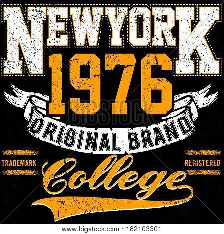 Newyork Typography vintage college brand logo print for t-shirt. Retro artwork vector illustration
