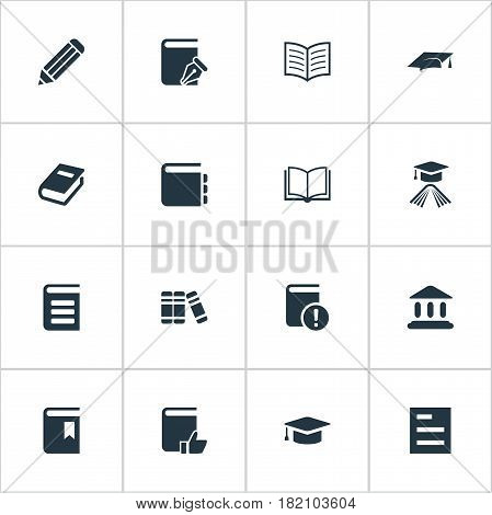 Vector Illustration Set Of Simple Knowledge Icons. Elements Graduation Hat, Blank Notebook, Academic Cap And Other Synonyms Pen, School And Hat.