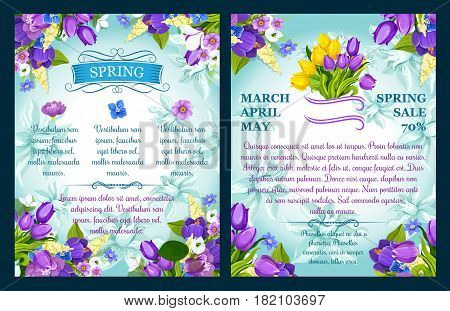 Spring sale vector posters for springtime season shopping discount. Floral design of springtime blooming flowers crocuses, tulips and daffodils bunch bouquets and ornate flourish decor