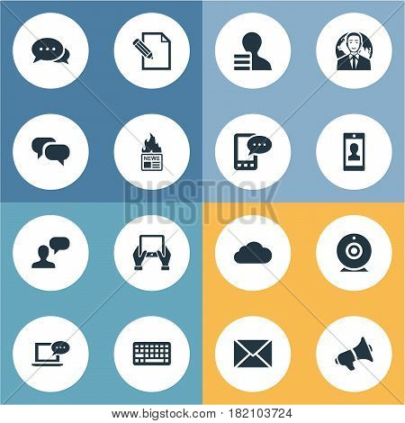 Vector Illustration Set Of Simple Blogging Icons. Elements Man Considering, Post, Overcast And Other Synonyms Post, Keyboard And Gazette.