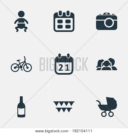 Vector Illustration Set Of Simple Celebration Icons. Elements Special Day, Beverage, Domestic And Other Synonyms Calendar, Kid And Champagne.