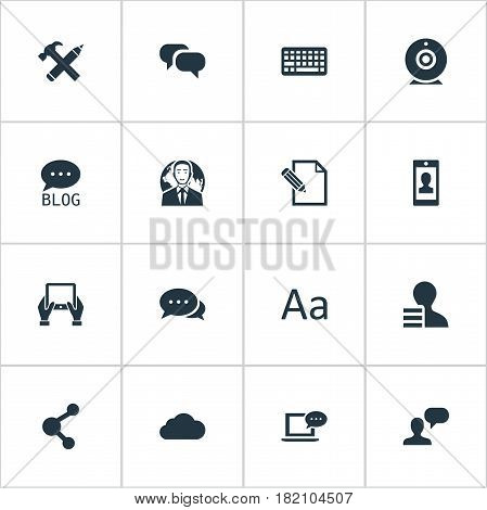 Vector Illustration Set Of Simple Newspaper Icons. Elements Site, Cedilla, Gain And Other Synonyms Forum, Conversation And Argument.