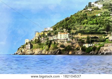 Colorful painting of Amalfi Coast, Campania, Italy