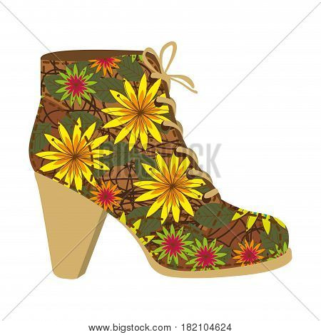 colorful silhouette of high heel shoe with shoelaces with decoratives daisy flowers vector illustration