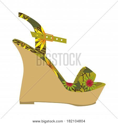 colorful silhouette of sandal shoe with platform sole and floral decoration vector illustration