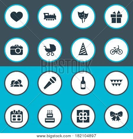 Vector Illustration Set Of Simple Celebration Icons. Elements Train, Beverage, Domestic And Other Synonyms Champagne, Stroller And Fizz.
