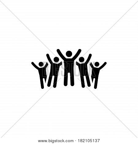 Victory Icon. Business Concept. Happy Group of People or Team. Flat Design. Isolated Illustration. App Symbol or UI element.