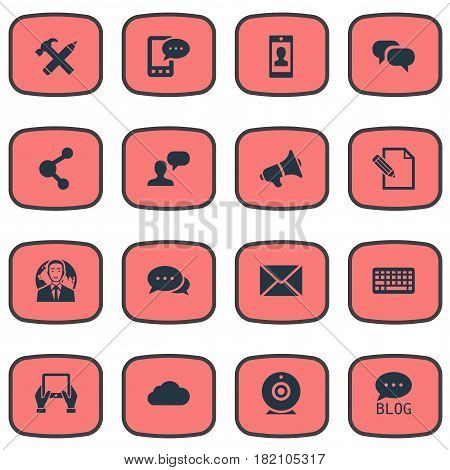 Vector Illustration Set Of Simple Blogging Icons. Elements International Businessman, Share, E-Letter And Other Synonyms Missive, Sky And Broadcast.