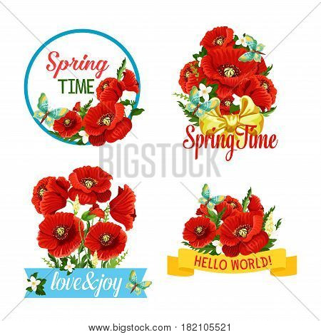 Spring greeting quotes of blooming red poppy flowers, floral wreath and ribbon bows. Vector isolated icons set of flourish bouquets, orchid blossom buds and butterflies for springtime holidays design