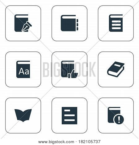 Vector Illustration Set Of Simple Education Icons. Elements Reading, Encyclopedia, Journal And Other Synonyms Journal, Alphabet And Favored.