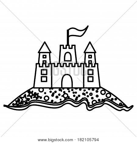 monochrome contour of beach and sandcastle with flag vector illustration