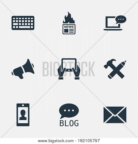 Vector Illustration Set Of Simple Newspaper Icons. Elements Profile, Notepad, Loudspeaker And Other Synonyms Message, Post And Forum.
