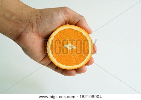 Slice organic orange holding on the hand