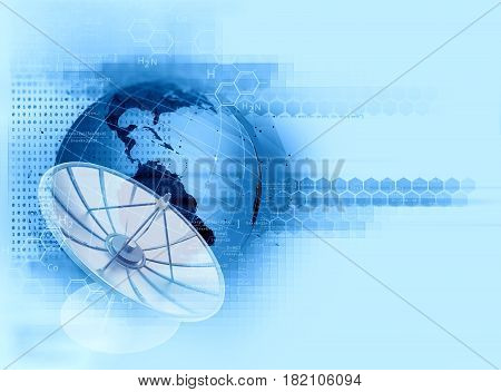 3D Illustration Of Satellite Dish  On Abstract Technology Background