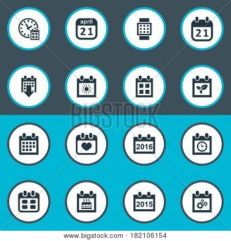 Vector Illustration Set Of Simple Plan Icons. Elements History, Almanac, Intelligent Hour And Other Synonyms Date, History And Plant.
