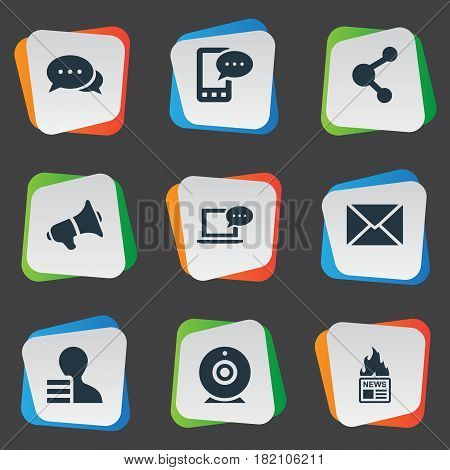 Vector Illustration Set Of Simple User Icons. Elements Laptop, Share, Gain And Other Synonyms Web, E-Letter And Earnings.