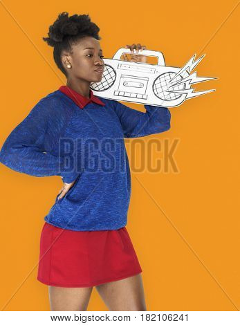 African Female holding Illustration Radio