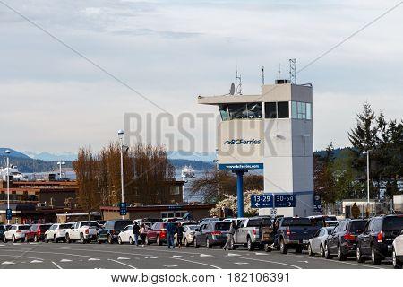 Victoria, Canada - Circa 2017: Long Queues at BC Ferries Terminal