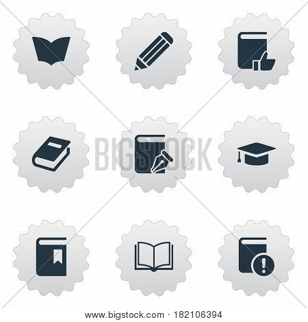 Vector Illustration Set Of Simple Education Icons. Elements Important Reading, Notebook, Book Cover And Other Synonyms Page, Book And Writing.