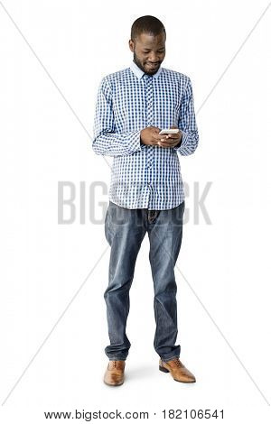 African Descent Man is using Smartphone