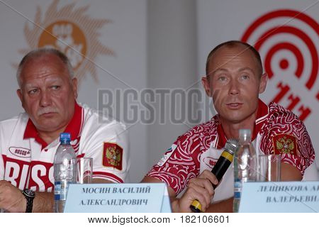 MOSCOW, RUSSIA - JULY 9, 2012: Shooter Vasily Mosin (right) during the press conference before the London Olympics in the Lisya Nora sports complex. He won the bronze medal in double trap shooting