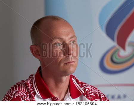 MOSCOW, RUSSIA - JULY 9, 2012: Shooter Vasily Mosin during the press conference before the London Olympics in the Lisya Nora sports complex. He won the bronze medal in double trap shooting