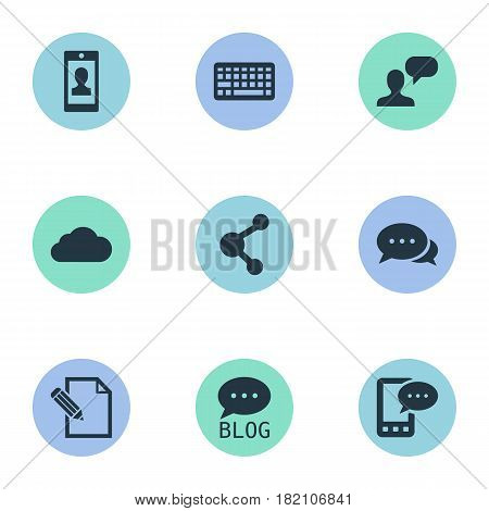 Vector Illustration Set Of Simple User Icons. Elements Document, E-Letter, Share And Other Synonyms Forum, Sky And Pen.