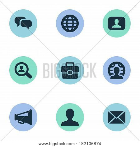 Vector Illustration Set Of Simple Job Icons. Elements Inbox, Anonymous, World And Other Synonyms Net, User And Inbox.