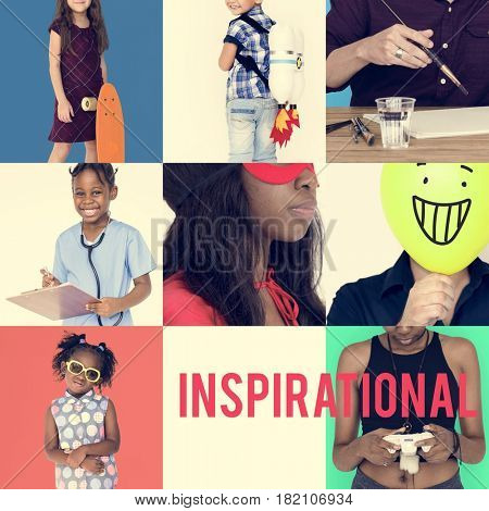 Set of Diverse People Inspirational Ideas Studio Collage