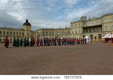 GATCHINA, ST. PETERSBURG, RUSSIA - SEPTEMBER 10, 2016: Military orchestra in retro uniform of Russian Army on the platz in front of Gatchina palace during the festival Gatchinskaya Byl