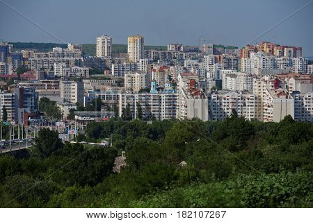 BELGOROD, RUSSIA - JUNE 6, 2014: Aerial view to the city center. In 2007 Belgorod got the title City of Military Glory