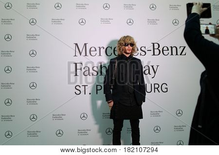 ST. PETERSBURG, RUSSIA - APRIL 1, 2017: Hair stylist and designer Sergey Zverev on Mercedes-Benz Fashion Day St. Petersburg. It is one of the most popular fashion events of the city