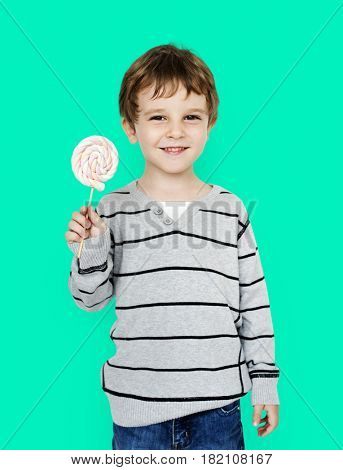 Little Boy Hands Holding Marshmallow Candy Studio Portrait