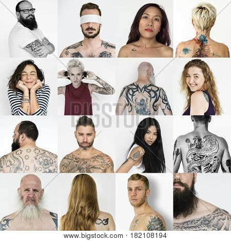Collection of people with tattoo art