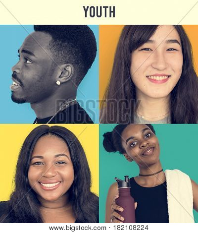 Set of Diversity Young Adult People Happy Face Expression Emotion Studio Collage