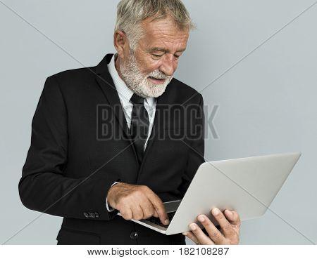 Caucasian Business Man Laptop Concept