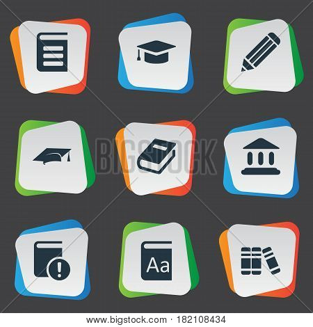 Vector Illustration Set Of Simple Knowledge Icons. Elements Alphabet, Academic Cap, Pen And Other Synonyms Pen, Book And Bookshelf.