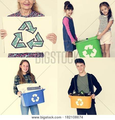 Set of Diversity People with Recycle Sign Environmental Friendly Studio Collage
