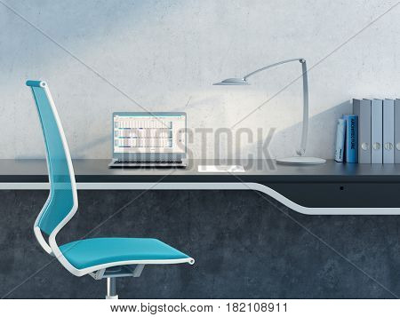 work place in the modern office, 3d rendering