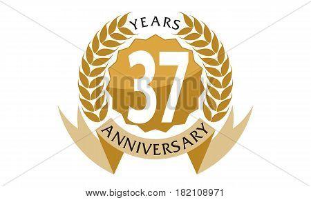 37 Years Ribbon Anniversary Celebration Congratulation Elegance